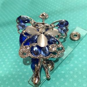 Blue rhinestone pearl angel ballerina badge real